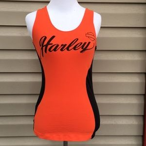 Harley Davidson women's orange/black tank top